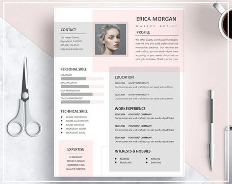 Pink Resume Template/ Pink CV Template/ Creative Resume Template Design/ Professional Resume Template/ Instant Download Resume Template Word