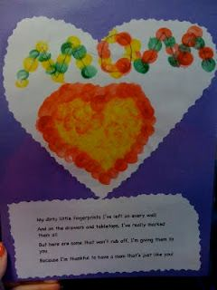 Fingerprint art and a poem for mom