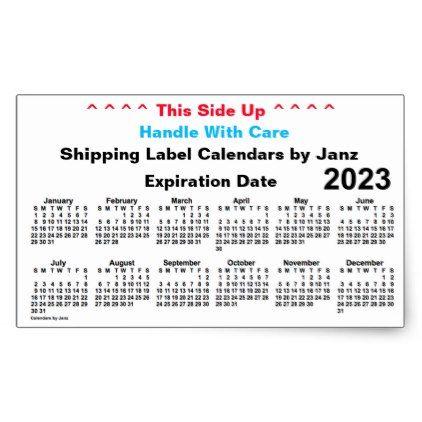 2023 White Shipping Calendar By Janz Rectangular Sticker Zazzle
