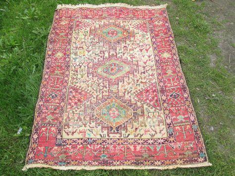 Vintage Soumak Turkish Handwoven Kilim Rug 57 X By Cappodociarug 290 00 Handwoven Kilim Handwoven Carpets Animal Motif