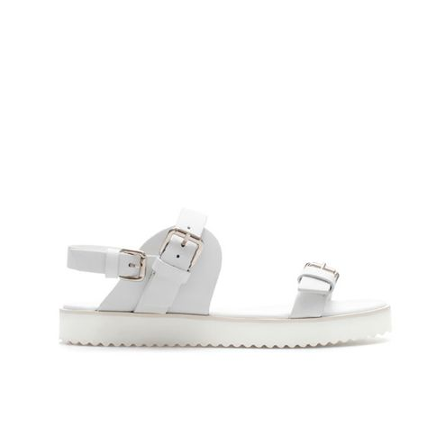 d38f33c4af8c0a Zara Flat Sandal with Buckle in White