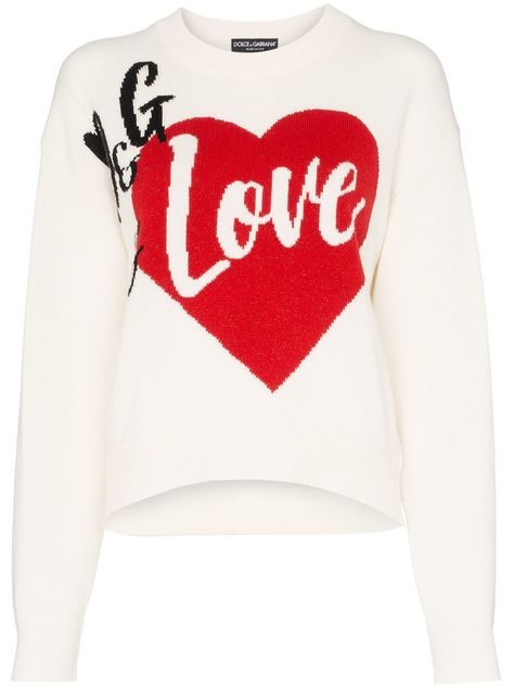 Dolce & Gabbana D&G Is Love Cashmere Blend Intarsia Knit Sweater - Farfetch