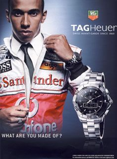 Lewis Hamilton wearing his TAG Heuer watch.  What are you made of?