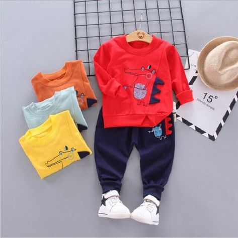 Infant autumn children's clothing Set new Children's suit 0-4 year baby girl outfit cotton sportswear cartoon dinosaur Boys suit - red / 3T