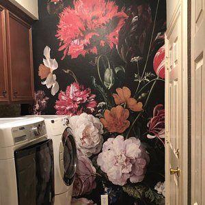 Large Flower Wallpaper Large Flower Mural Peel And Stick Etsy Large Flower Wallpaper Floral Wallpaper Black Floral Wallpaper