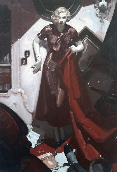 "Mead Schaeffer - Kelly Collection American Illustration Art. ""Hide the Body"", oil on canvas, (35 x 24 inches) 1933."