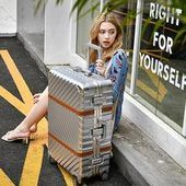 BeaSumore Rolling Luggage Spinner Suitcase Wheels vintage Aluminum Frame Trolley Women Travel Bag Men Carry On box Trunk BeaSumore Rollgepäck Spinner Koffer Räder Vintage Aluminiumrahmen Trolley Fraue