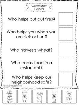 4 Community Helpers Answer The Question Worksheets Preschool Kindergarten Community Helpers Worksheets Community Helpers Kindergarten Worksheets