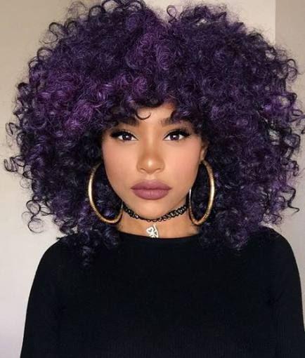 Hair Highlights Purple Black 50 Trendy Ideas Natural Hair Styles Purple Hair Curly Hair Styles