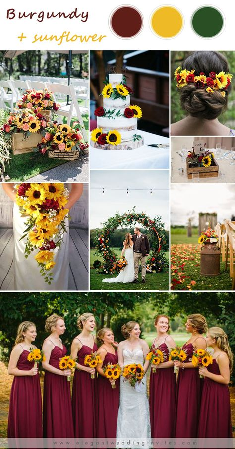"When referring to the word ""burgundy"", do you recall something special to please your feeling, like the fragrant wine? 2020 wedding color trend is more richer color shades and burgundy is a good choice for any time of. Fall Sunflower Weddings, Sunflower Wedding Decorations, Summer Wedding Decorations, Sunflower Wedding Invitations, Rose Wedding, Wedding Flowers, Dream Wedding, Summer Wedding Colors, Spring Wedding"
