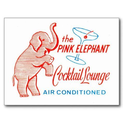 Kitsch Vintage Pink Elephant Cocktail Lounge Postcards