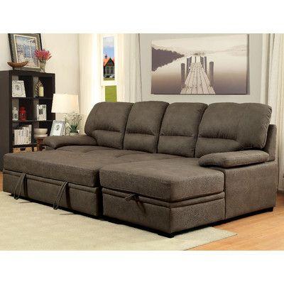Hokku Designs Sleeper Sectional Upholstery Ash Brown Decoracao Apartamento Sofa Cama Sofas E Poltronas
