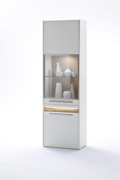 Weiße Vitrine Velvet I inklusive LED und Glastüren #weiß #möbel - moderner wohnzimmerschrank mit glastüren und led beleuchtung