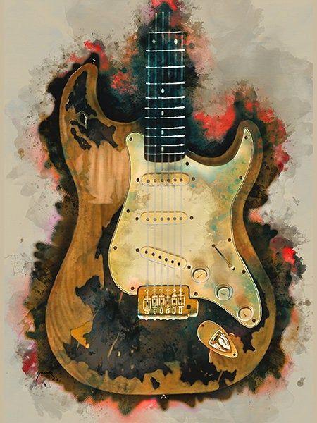 John Mayer S Electric Guitar 18x24 Guitar Art Music Etsy Guitar Art Music Wall Art Music Room Decor