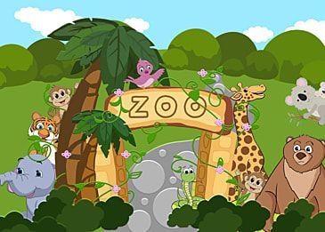 Zoo Coconut Tree Elephant Tiger Background Zoo ย ราฟ สวนส ตว ช าง