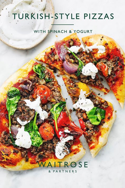 With minced beef, grilled vegetables and a dollop of Greek yogurt, this colourful pide-style dish is perfect for an alfresco dinner and ready in 40 minutes. Tap for the recipe.