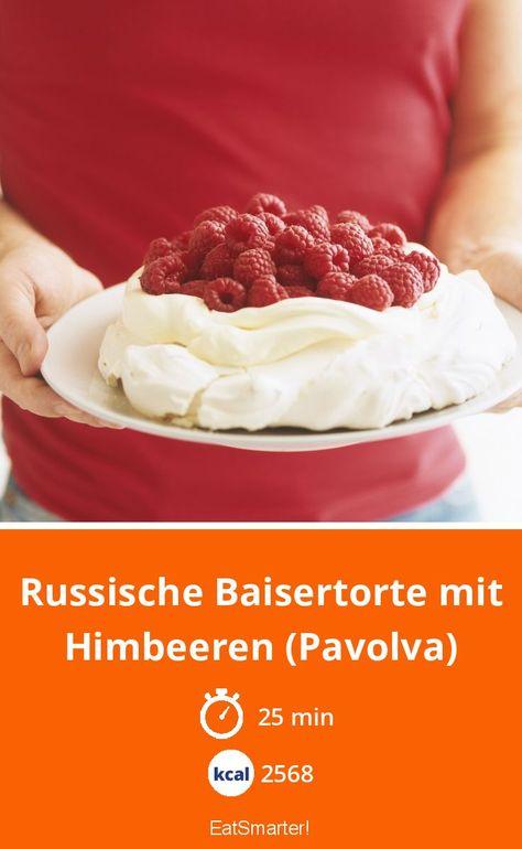 Russische Baisertorte mit Himbeeren (Pavolva) - 2568 kcal - schnelles Rezept - mittel - So gesund ist das Rezept: 5,1/10 | Eine Rezeptidee von EAT SMARTER | Beerentorte, Singleküche, Europa, Kuchen, Torten, Sommerrezepte, Sommerkuchen, Vegetarisch #beerenkuchen #rezepte