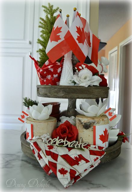 Canada Day Tiered Tray With Images Summer Centerpieces Canada Day Tiered Tray Decor