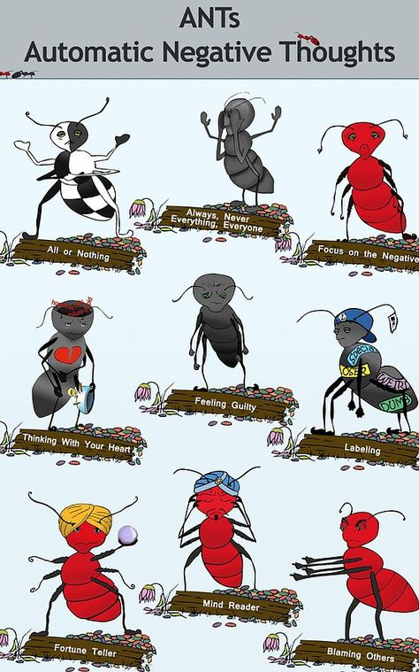 ANTs poster features all nine ANTs and is available in two sizes.The ANTs poster features all nine ANTs and is available in two sizes. Counseling Activities, Art Therapy Activities, School Counseling, Group Activities, Cognitive Distortions, Therapy Tools, Play Therapy, Therapy Ideas, Speech Therapy