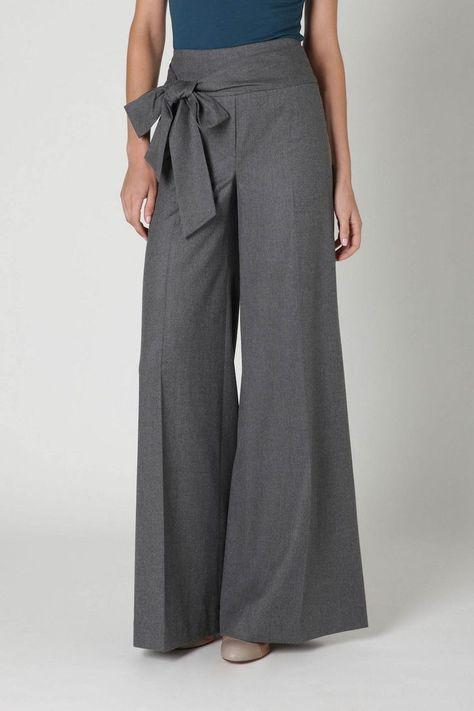 wide leg pants with an obi tie - #Leg #obi #pants #Tie #wide