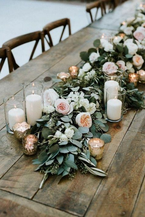 wedding beauty regimen wedding beauty regimen 30 Budget-friendly Greenery Ideas You Cant Miss Wedding Table Garland, Romantic Wedding Centerpieces, Wedding Ceremony Flowers, Outdoor Wedding Decorations, Wedding Table Settings, Wedding Reception, Sage Green Wedding, Lilac Wedding, Wedding Beauty