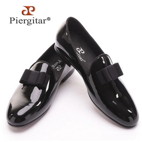 c5409b83f85 Piergitar Shoes - Handmade Men s Leather Loafers with Gold Patent Leather  Buckle
