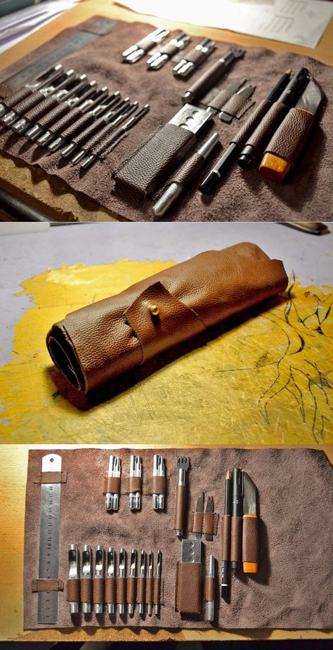 Customize a leather tool roll to fit your exact tools. Customize a leather tool roll to fit your exact tools. Leather Carving, Leather Art, Sewing Leather, Leather Design, Leather Tooling, Leather Wallet, Leather Roll, Custom Leather, Handmade Leather