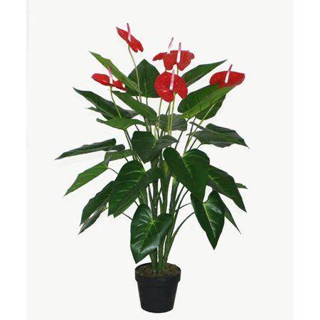 41 Red And Black Potted Tropical Artificial Anthurium Plant In A Black Pot Walmart Com Anthurium Plant Plants Anthurium