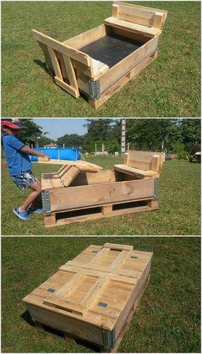 Foldable Pallet Sand Pit For Kids Sand Pits For Kids Diy Kids Playground Sand Pit