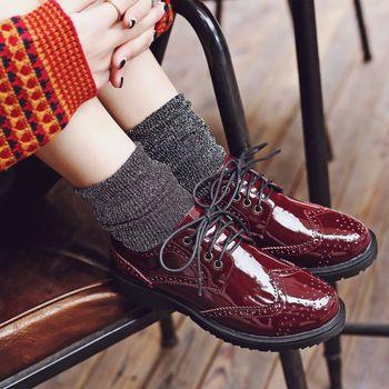48767e7ef3e Wholesale Ladies Fancy Flat Lace-Up Leather Brogue Shoes Women Daily ...