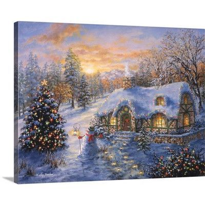 Canvas On Demand Christmas Art 'Christmas Cottage' by Nicky Boehme Painting Print on Wrapped Canvas