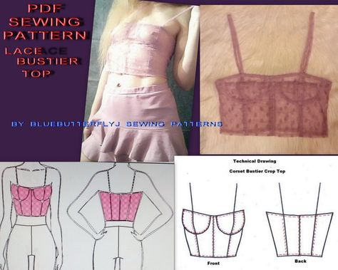 PDF sewing pattern corset bustier crop top from lace Corset Sewing Pattern, Bodice Pattern, Dress Sewing Patterns, Clothing Patterns, Pattern Drafting, Bra Pattern, Diy Corset, Corset Bustier, Corset Dresses