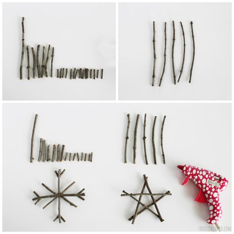 How to make twig ornaments - Rustic Christmas Ornaments Did a star, harder than I thought!!
