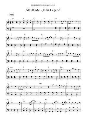 All Of Me John Legend Piano Sheet Music Free Easy Piano Sheet