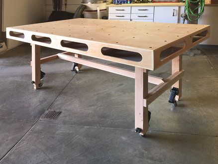 Rolling Assembly Table Workbench With Folding Height Adjustable
