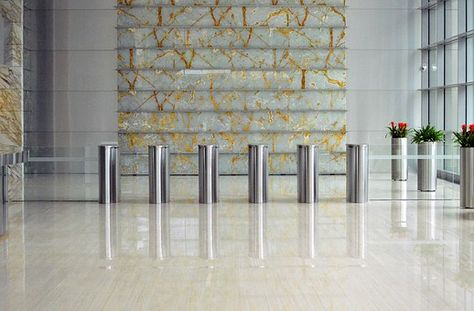 Inside Business Center Interior Foyer Marble Floor Glass Office