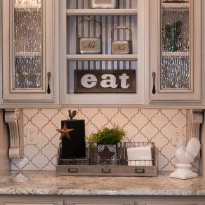 Backsplash Tile Antique White Arabesque Beige Grout Chamois
