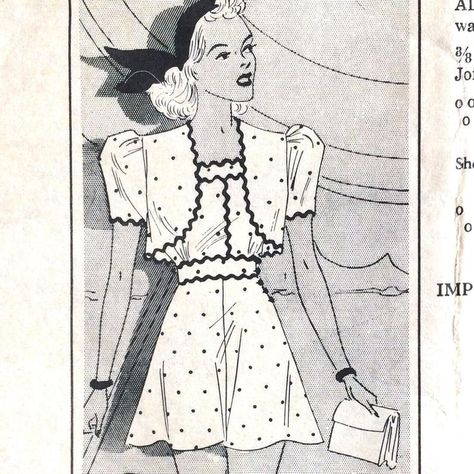 1940s Vintage Unused Pattern Playsuit Shorts And Sundress