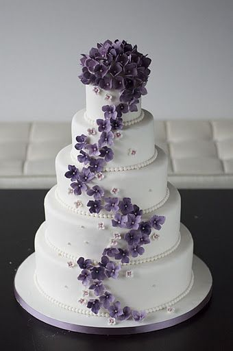 Purple Flowers Wedding Cake