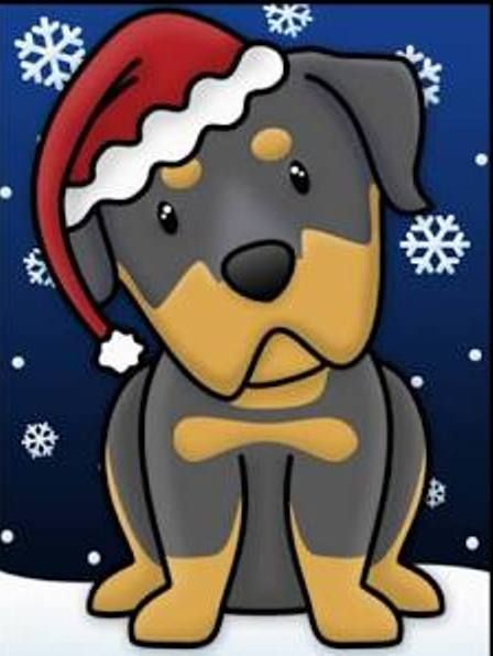 Rottie Christmas Cartoon With Images Rottweiler Love Dog