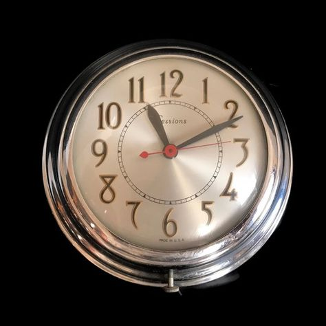 Vintage 50s Kitchen Wall Clock Sessions Round Chrome Clock Diner Style 1950s Vintage Kitchen Deco Beach Kitchen Decor Quirky Kitchen Decor Copper Kitchen Decor