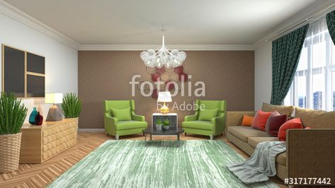 Interior of the living room. 3D illustration , #AFF, #living, #Interior, #illustration, #room #Ad