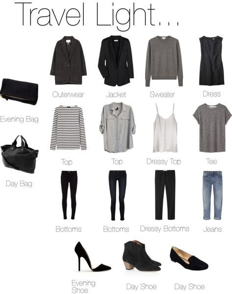 """""""Travel Light... Almost Anywhere."""" A friend I met while traveling brought only black and white for her wardrobe. At one glance it looks dull, but you can go from casual to chic anywhere"""