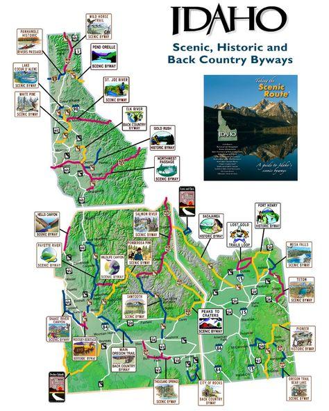 idaho scenic byways map Map Of Idaho Scenic Byways Idaho Adventure idaho scenic byways map