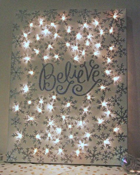 Lighted Christmas Canvas - I just love the glow of Christmas lights. The more the better in my book! So I decided to add more to my decor by making a lighted Ch…