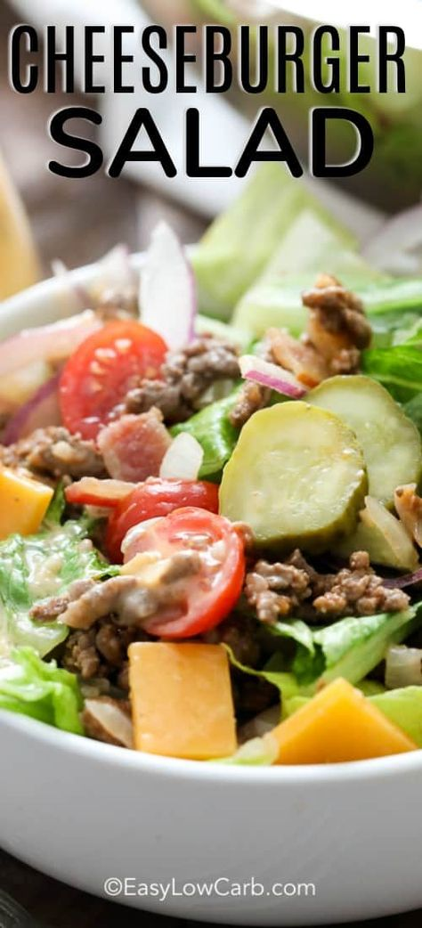 Bacon Cheeseburger Salad combines all the delicious ingredients and flavors of a Bacon Cheeseburger without the bun! Your family will love this salad! #spendwithpennies #baconcheeseburger #easyrecipe #easysalad #simplemeal #withoutbun #beefrecipe