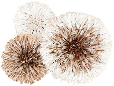 Amazon Com Authentic African Juju Hats Set Of 3 White With Tan Center Home Kitchen Juju Hat Feather Wall Decor Juju