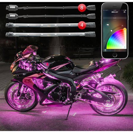 Gen 8 Pod 4 Strip XKchrome App Control Motorcycle Professional LED Accent Light Kit Millions of Colors Smart Brake Feature for Harley Davidson Honda Yamaha Suzuki Kawasaki Ducati Indian Victory Female Motorcycle Riders, Motorcycle Tips, Chopper Motorcycle, Motorcycle Style, Motorcycle Design, Motorcycle Accessories, Motorcycle Quotes, Maserati, Ferrari