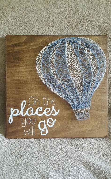 Items similar to Hot Air Balloon String Art, Nursery String Art, Baby Decor, O the places you will go on Etsy <br> String Wall Art, Nail String Art, Disney String Art, Diy Hot Air Balloons, String Art Patterns, Doily Patterns, Dress Patterns, Shops, Resin Crafts