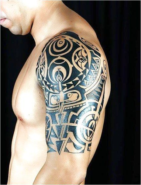 Cool Half Sleeve Tattoo Of Unique Pattern For Men Style Tribal Color Black Tags Creative Awe Quarter Sleeve Tattoos Tribal Shoulder Tattoos Maori Tattoo